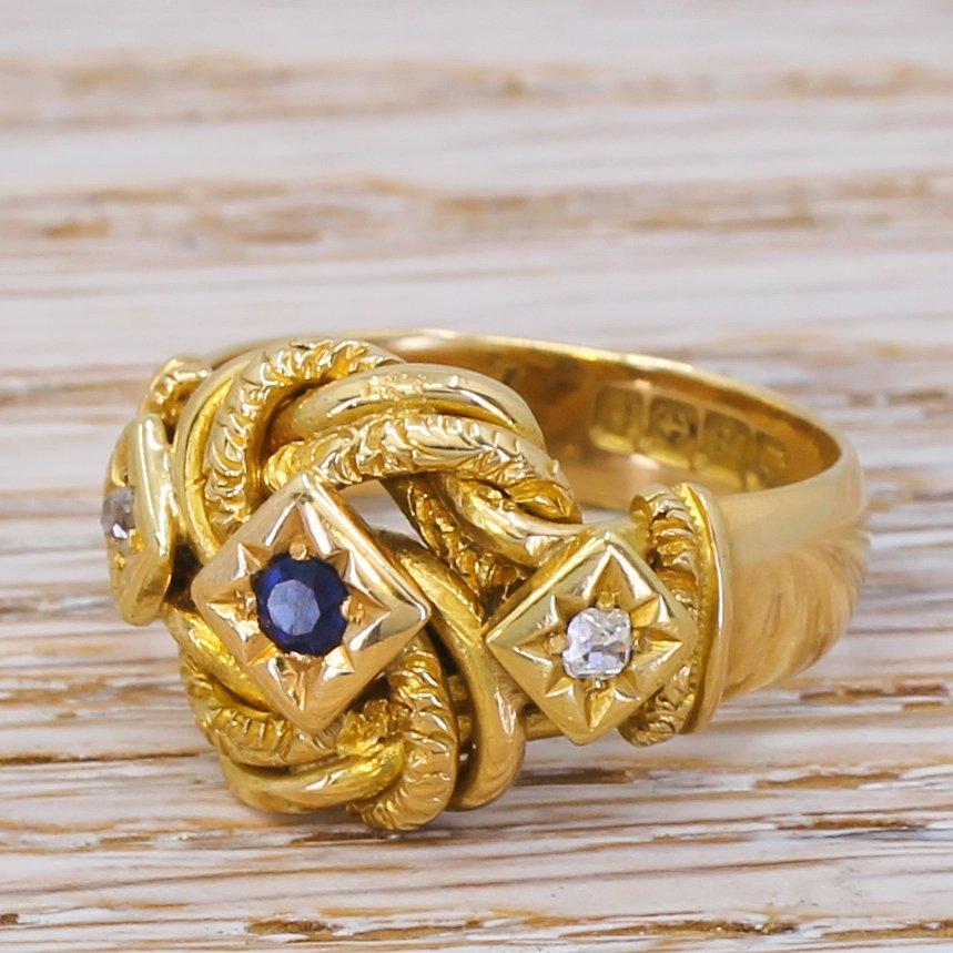 art deco sapphire 038 diamond knot ring dated 1918