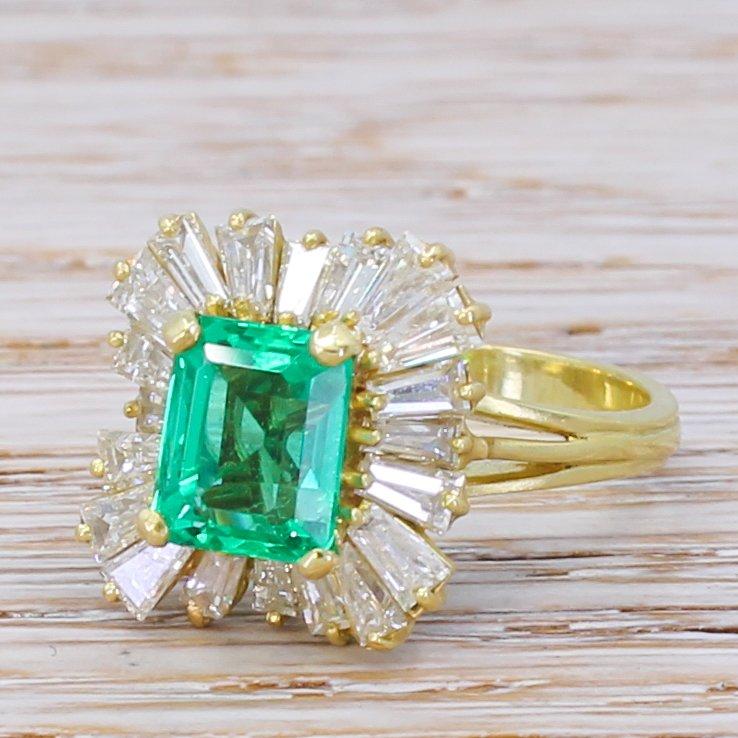 mid century 191 carat no oil colombian emerald 038 diamond ballerina ring circa 1965