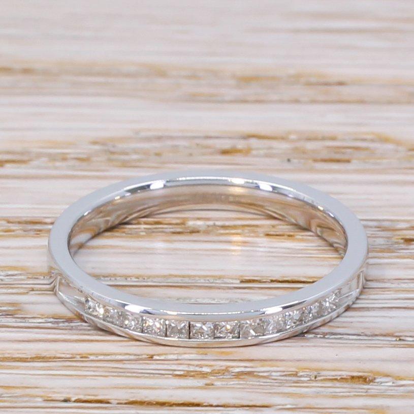 020 carat princess cut diamond half eternity ring 14k white gold