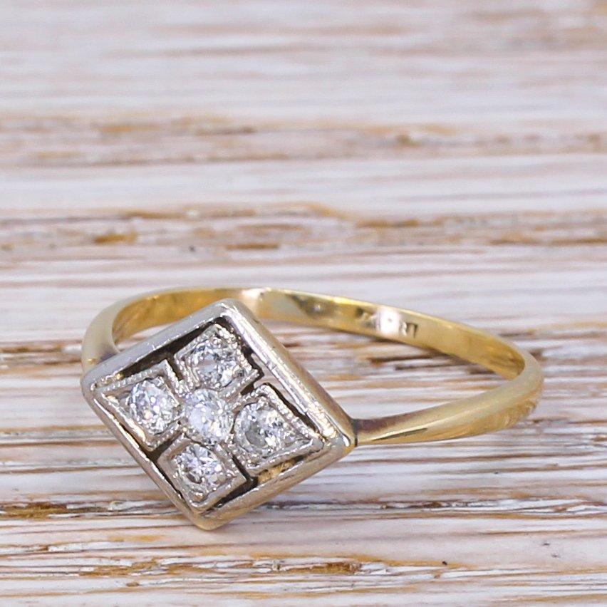 art deco 025 carat old cut diamond cluster ring circa 1935