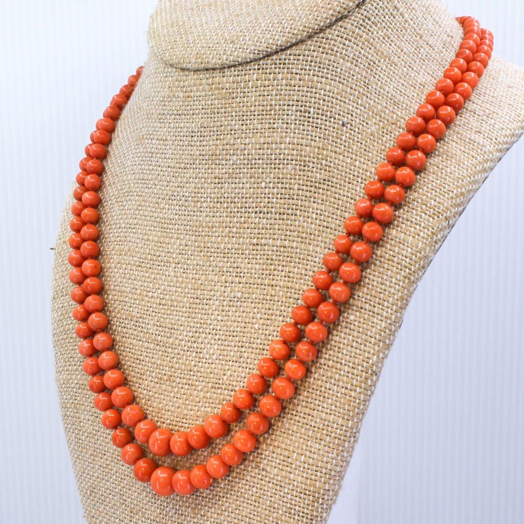victorian coral bead double strand necklace circa 1900