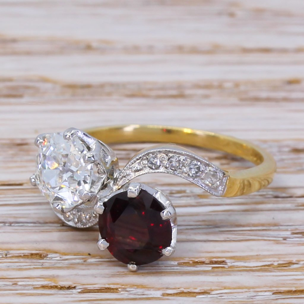 art deco 101 carat old cut diamond 038 114 carat ruby crossover ring circa 1925