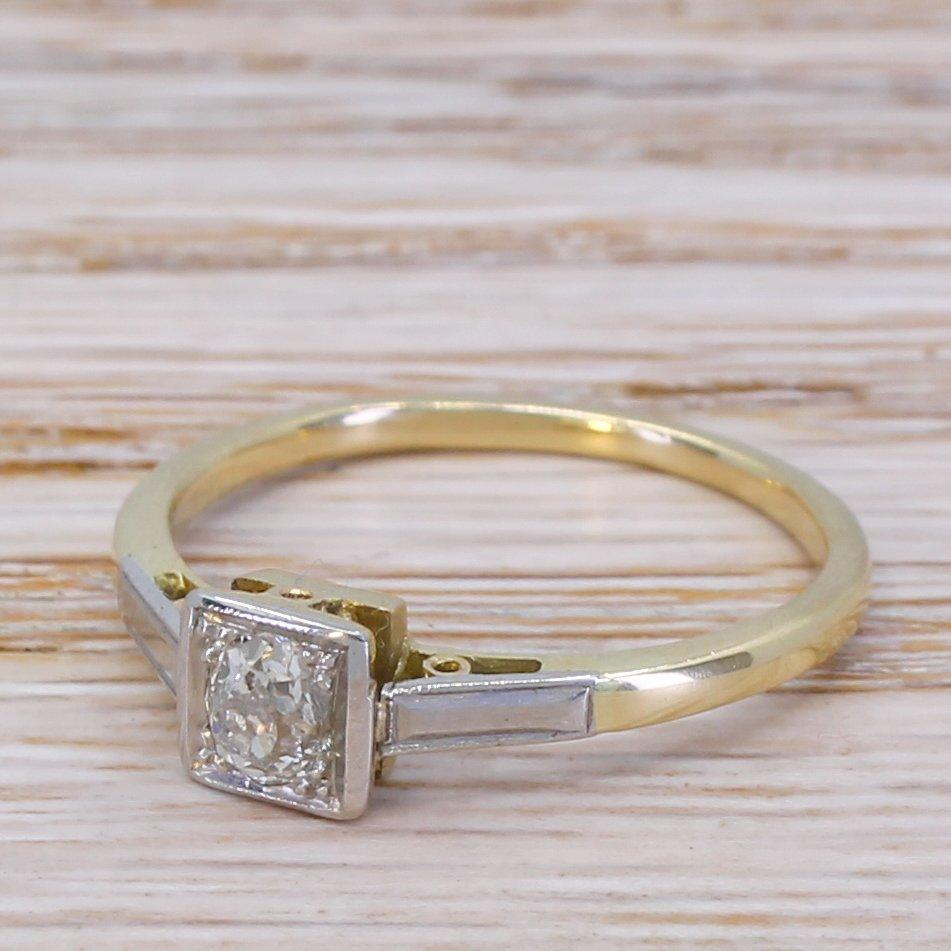 art deco 025 carat old cut diamond engagement ring circa 1920