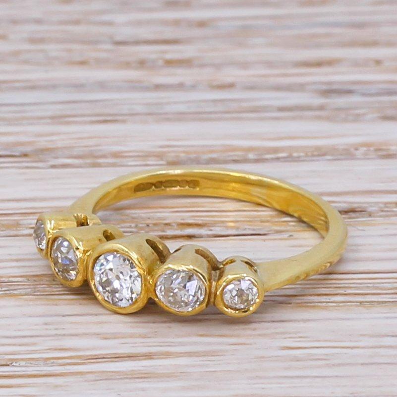 080 carat old cut diamond five stone diamond ring 18k gold