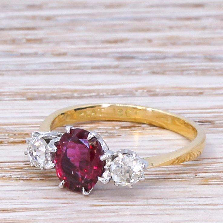 art deco 133 carat natural ruby 038 old cut diamond trilogy ring circa 1920