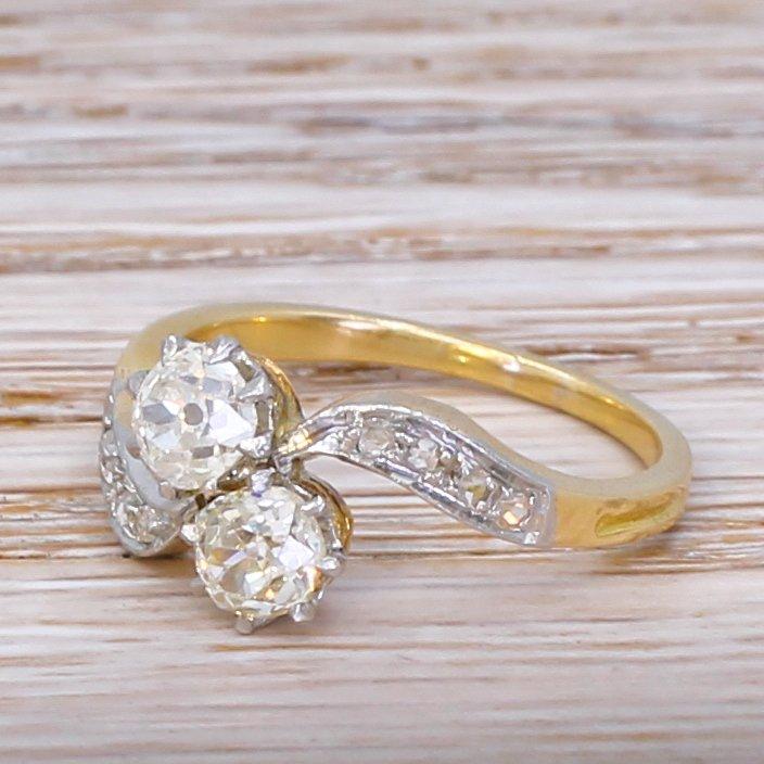 edwardian 085 carat old cut diamond crossover ring circa 1910