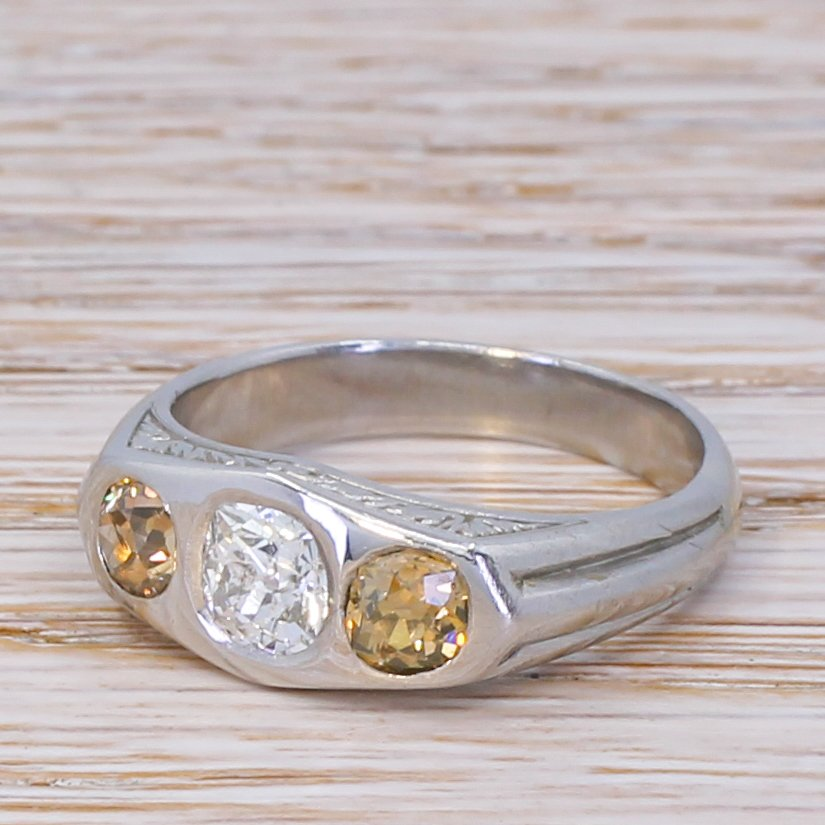 art deco 154 carat old cut diamond three stone ring circa 1925