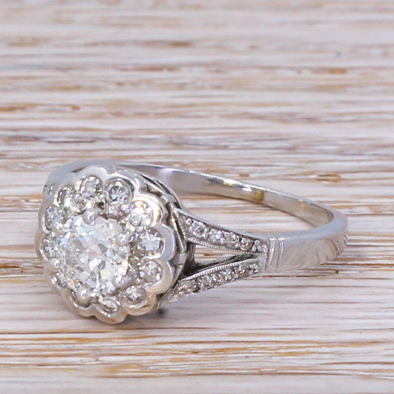 mid century 114 carat old cut diamond cluster ring circa 1950