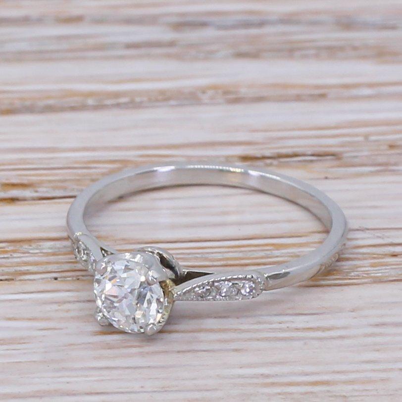 art deco 055 carat old cut diamond engagement ring circa 1935