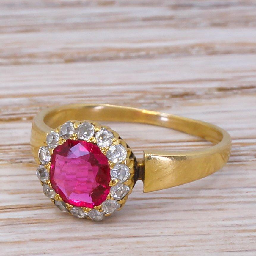 victorian 080 carat natural burmese spinel 038 diamond ring circa 1880