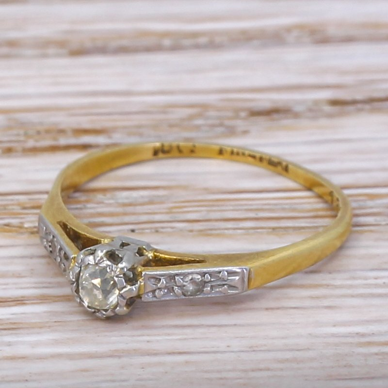 mid century 010 carat old cut diamond engagement ring circa 1945