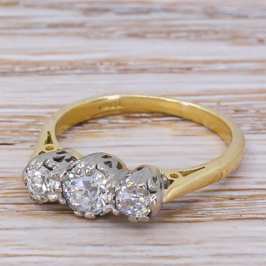 mid century 075 carat old cut diamond trilogy ring circa 1960