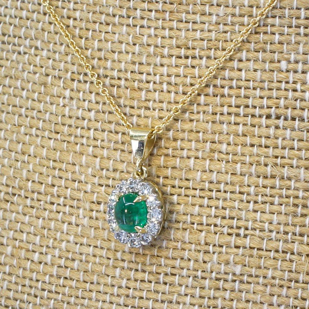 art deco 077 carat cabochon cut emerald 038 diamond pendant circa 1930