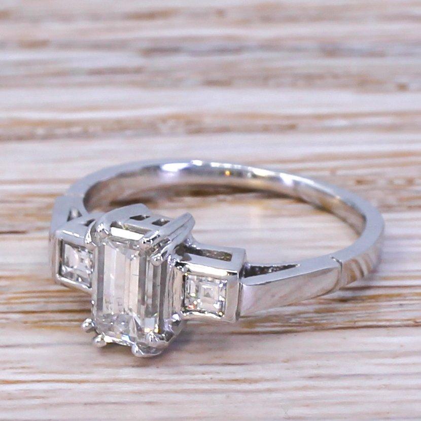 mid century 100 carat emerald cut diamond engagement ring circa 1950
