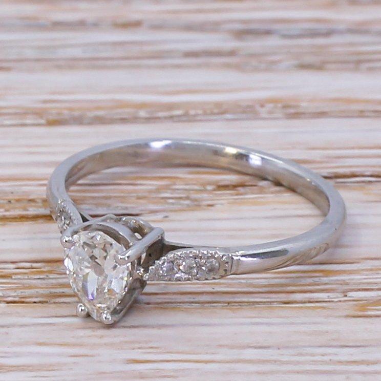 art deco 050 carat old pear cut diamond engagement ring circa 1925