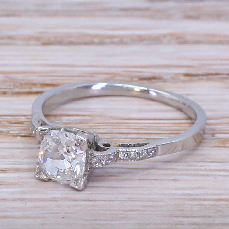 art deco 085 carat old cut diamond engagement ring circa 1925