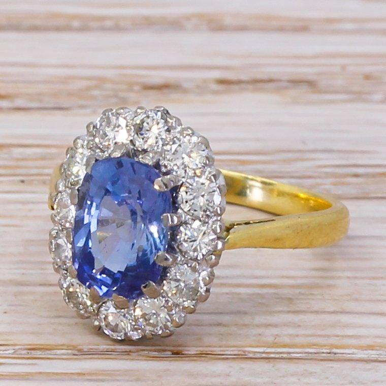 mid century 227 carat sapphire 038 diamond cluster ring circa 1960