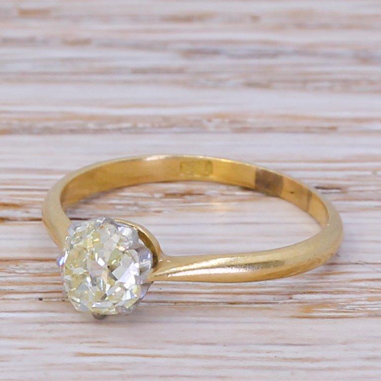 art deco 103 carat old cut diamond engagement ring circa 1915