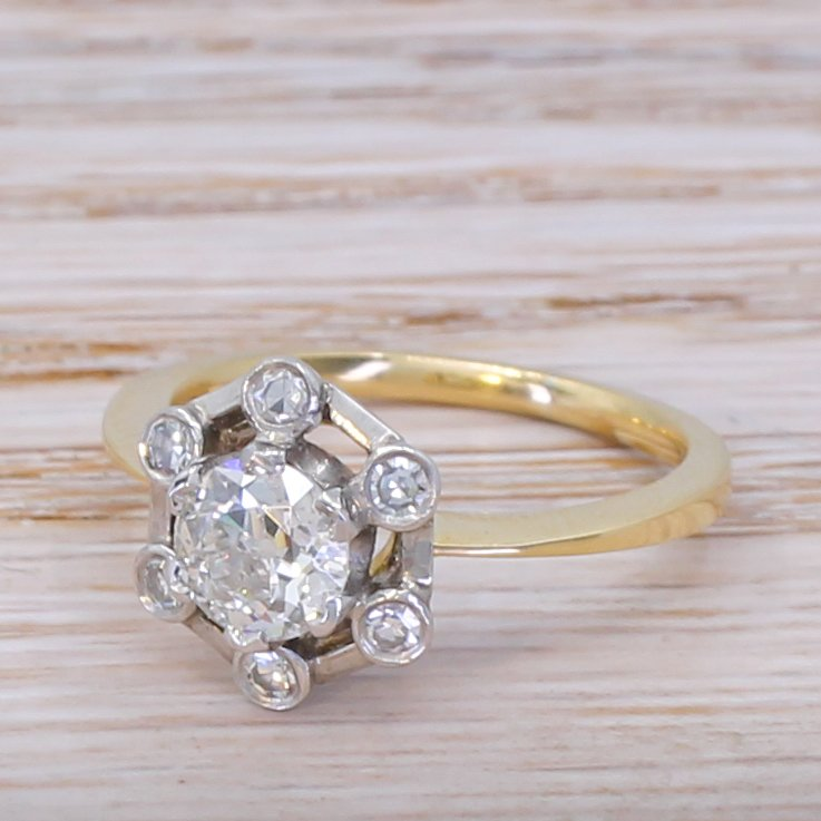 art deco 103 carat old cut diamond cluster ring circa 1920