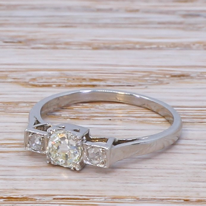 art deco 052 carat old cut diamond trilogy ring circa 1930