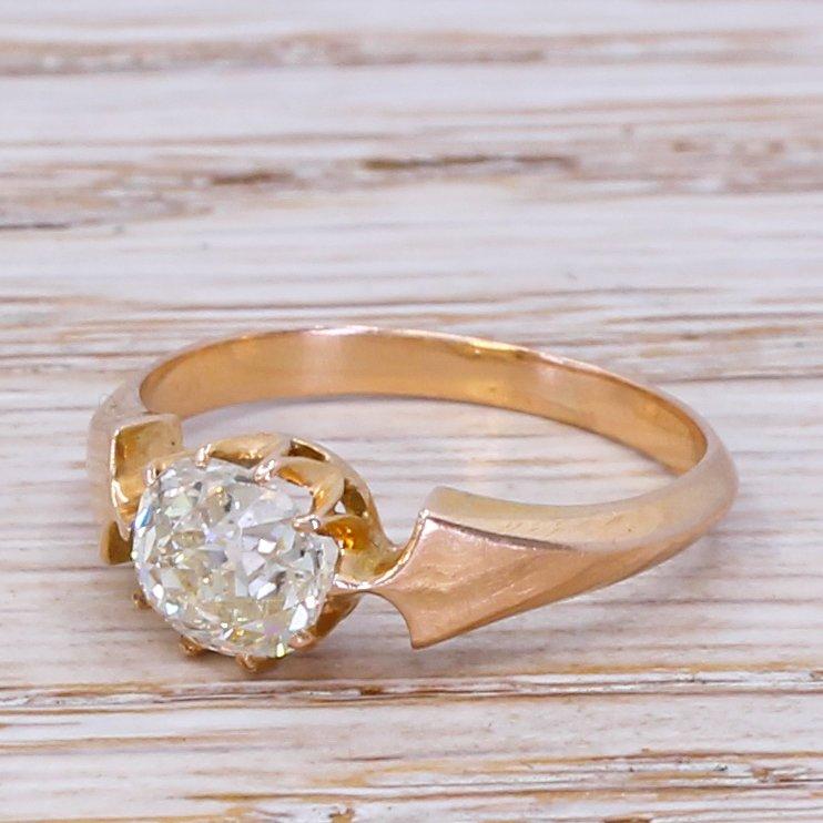 edwardian 100 carat old cut diamond engagement ring circa 1905