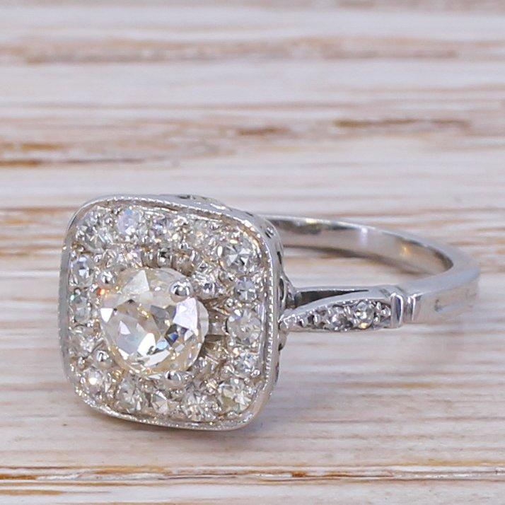 mid century 085 carat old cut diamond cluster ring circa 1965