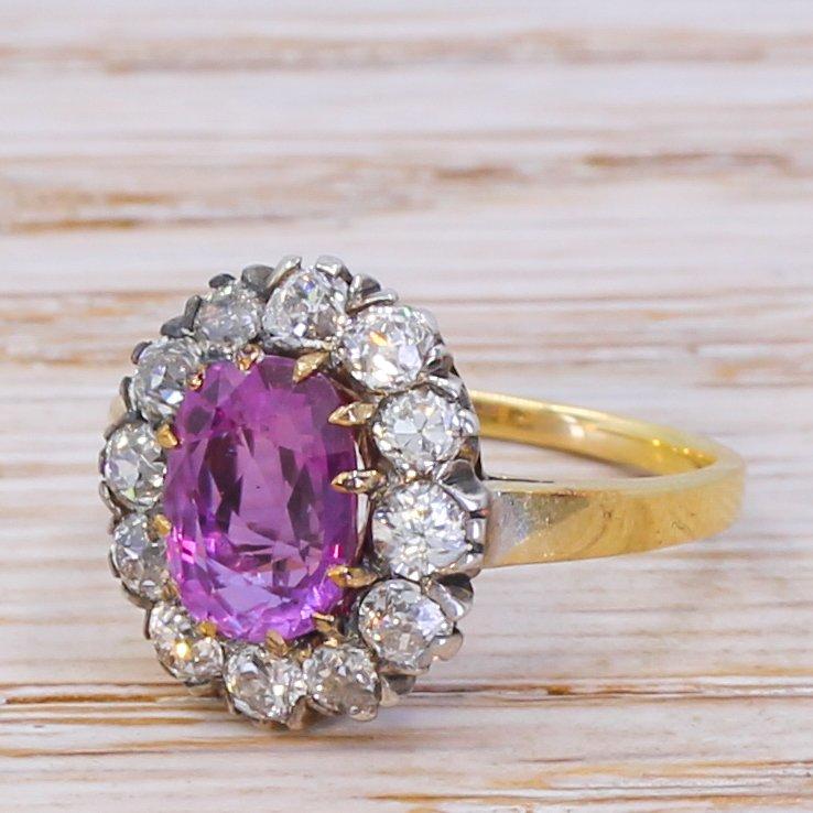 edwardian 185 carat pink sapphire 038 old cut diamond cluster ring circa 1905