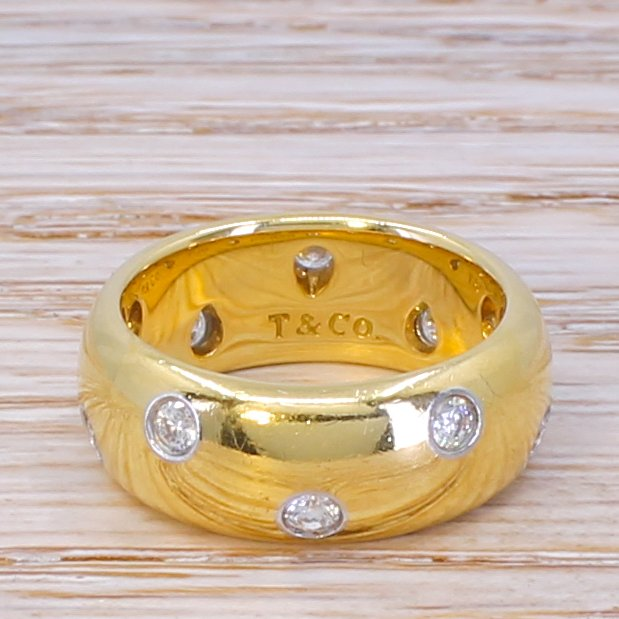tiffany 038 co diamond etoile ring 18k yellow gold 038 platinum