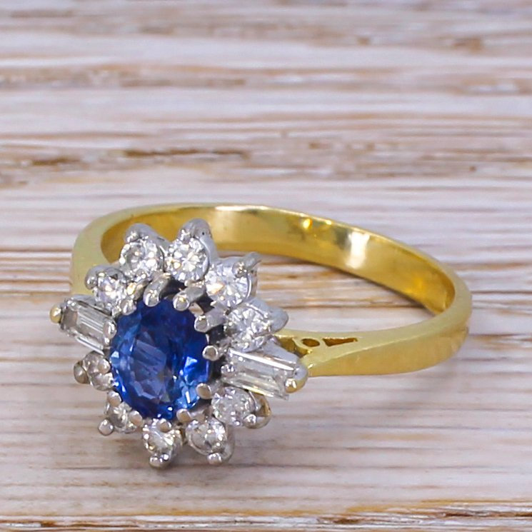 late 20th 065 carat sapphire 038 diamond cluster ring dated 1989