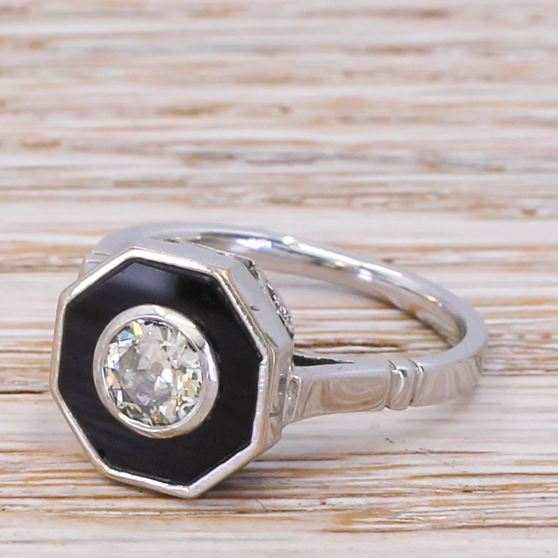 retro 045 carat old cut diamond 038 onyx ring circa 1950