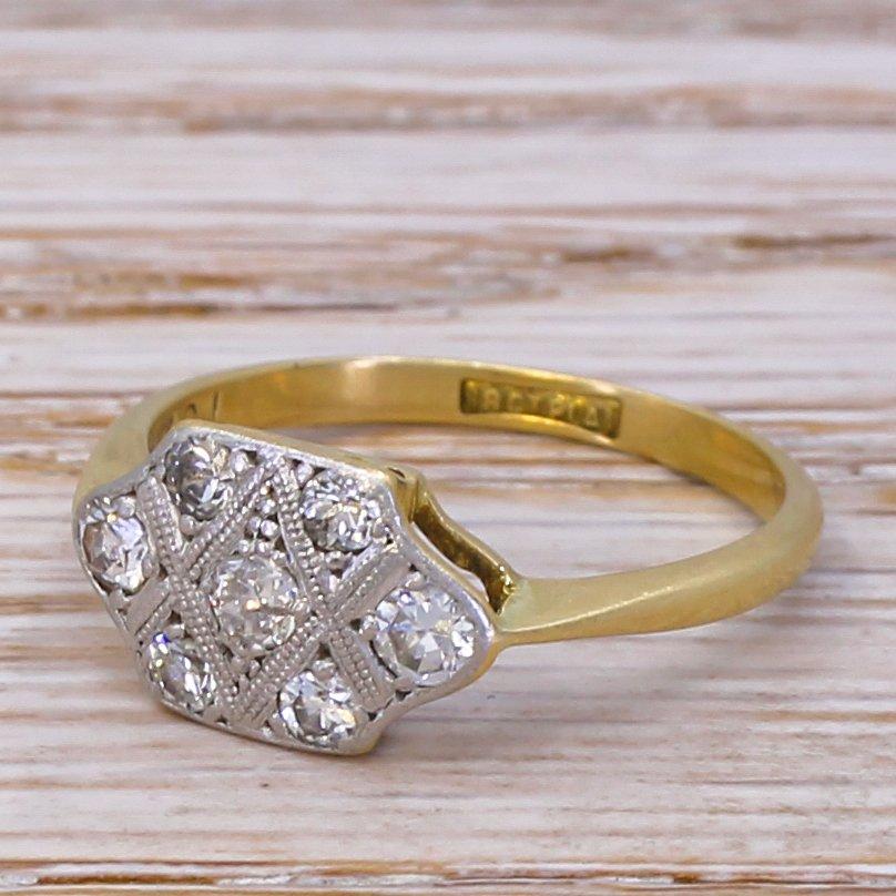 mid century 041 carat brilliant cut diamond cluster ring circa 1960