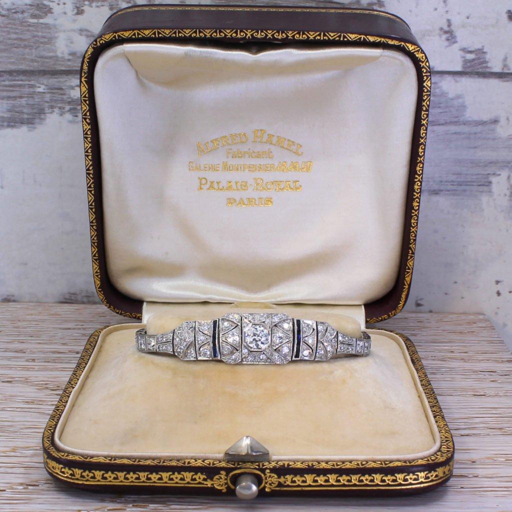 art deco 445 carat old cut diamond 038 sapphire bracelet circa 1915