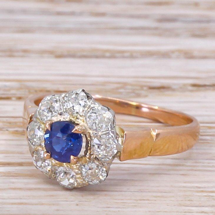 art deco 043 carat sapphire 038 080 carat old cut diamond ring circa 1925