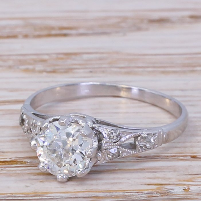 art deco 080 carat old cut diamond engagement ring circa 1940