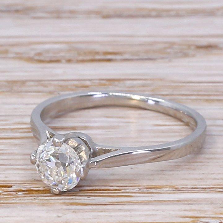 art deco 078 carat old cut diamond engagement ring circa 1930