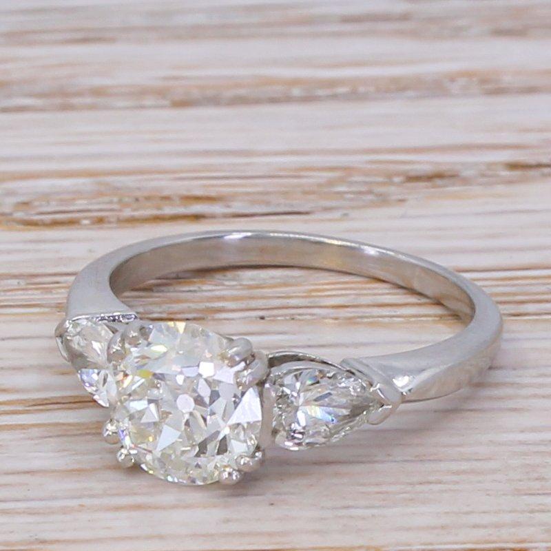 mid century 255 carat old cut 038 pear cut diamond ring  circa 1955